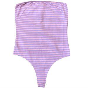 American Apparel strapless bodysuit striped L